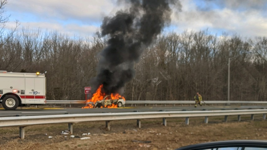 Vehicle on Fire on Route 9 in Berlin