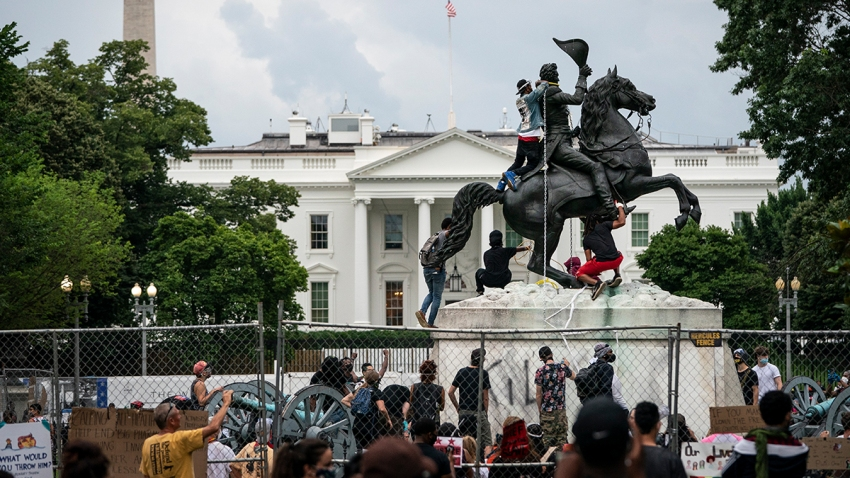 Protesters clash with U.S. Park Police after protesters attempted to pull down the statue of Andrew Jackson in Lafayette Square near the White House on June 22, 2020 in Washington, DC.