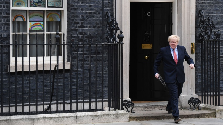 Prime Minister Boris Johnson leaves 10 Downing Street before making a speech as he returns to work following his recovery from Covid-19 on April 27, 2020 in London, England.