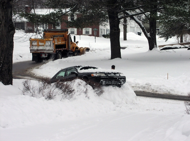 car in a snowbank
