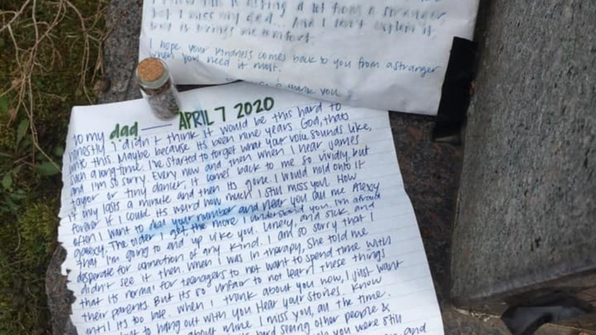 a letter left on a tombstone at a Hartford cemetery