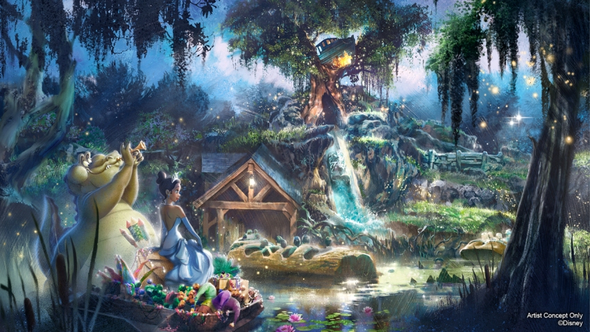 Concept art of the exterior of Splash Mountain.