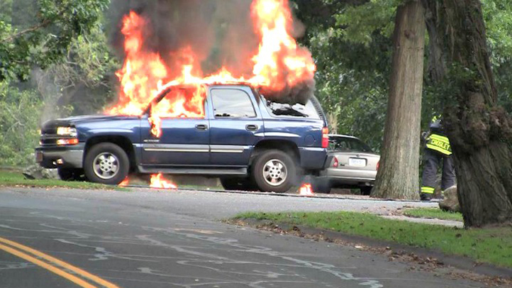 fairfield University student car fire