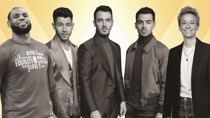 From left to right: LeBron James, Nick Jonas, Kevin Jonas, Joe Jonas, Megan Rapinoe