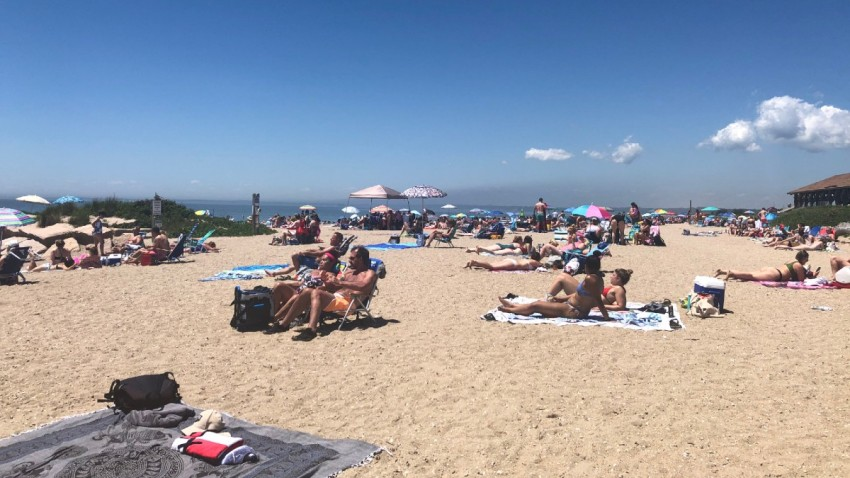 people on the beach at Hammonasset State Park