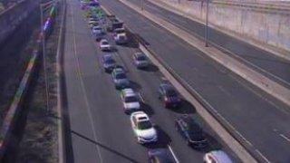 Traffic after a crash on I-91 north in Hartford