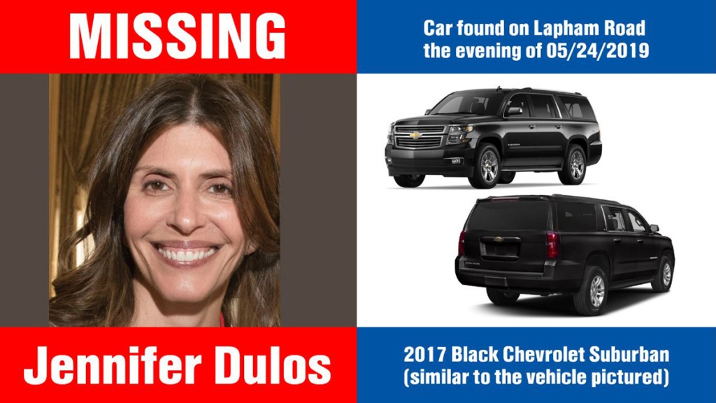 jennifer dulos missing poster with car