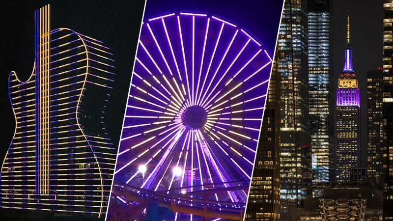 Photos: Landmarks Light Up Purple, Gold to Remember Lifelong Laker Kobe Bryant