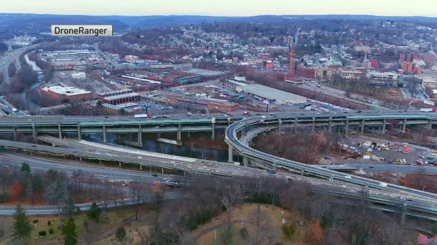 An aerial view of the Mixmaster in Waterbury