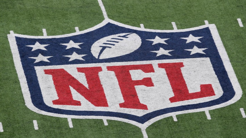 In this file image, a detail of the official National Football League NFL logo is seen painted on the turf as the New York Giants host the Atlanta Falcons during their NFC Wild Card Playoff game at MetLife Stadium on January 8, 2012 in East Rutherford, New Jersey.