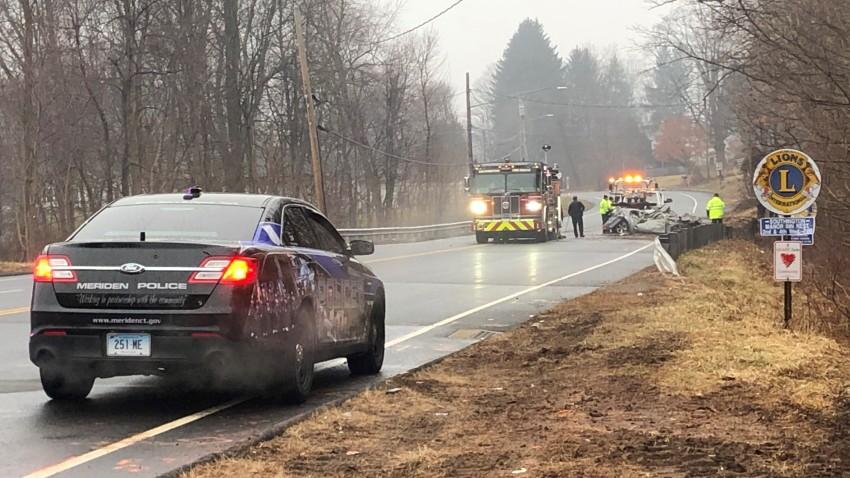 In this picture is the scene of a fatal rollover accident in Southington.