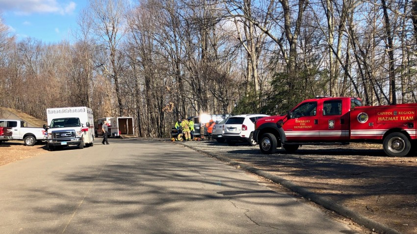 Firefighters are working to rescue a man from Talcott Mountain State Park.