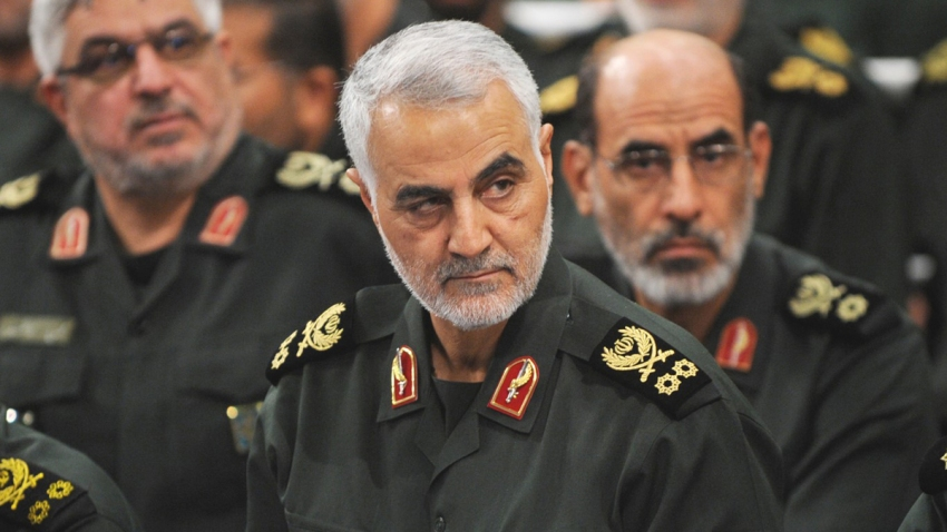 A file photo dated September 18, 2016, shows Iranian Revolutionary Guards' Quds Force commander Qasem Soleimani (C) during Iranian Supreme Leader Ayatollah Ali Khamenei's meeting with Revolutionary Guards, in Tehran, Iran. The U.S. carried out a strike that killed Soleimani and several other military leaders in January.