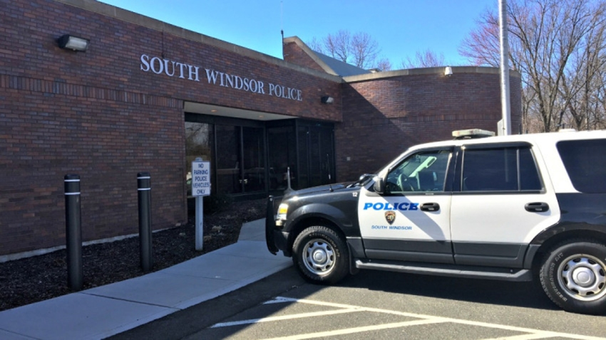 South Windsor police vehicle outside police station
