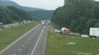 traffic backed up on Interstate 691 in Southington