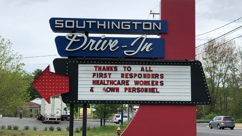 the marquee outside the Southington Drive-In