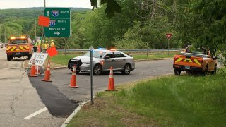 state police cruiser blocks entrance to I 395 in Thompson