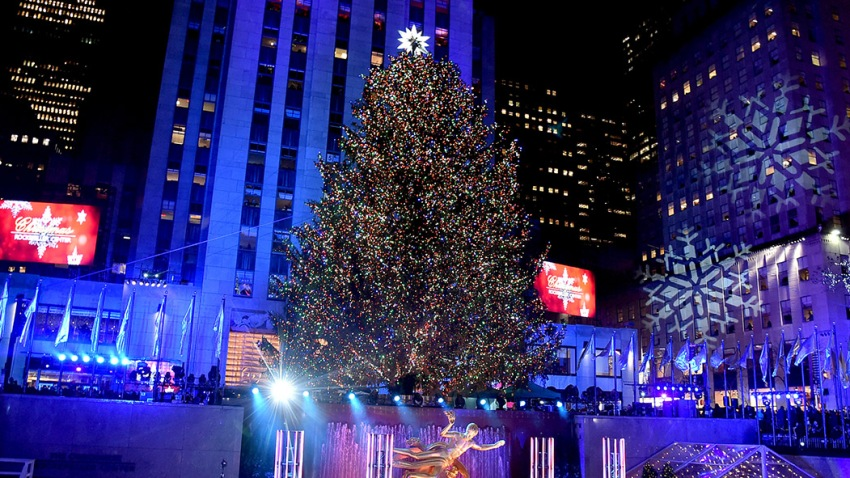 In this Nov. 29, 2017, file photo, the Rockefeller Plaza is seen during the 85th Rockefeller Center Christmas Tree Lighting Ceremony at Rockefeller Center in New York City.