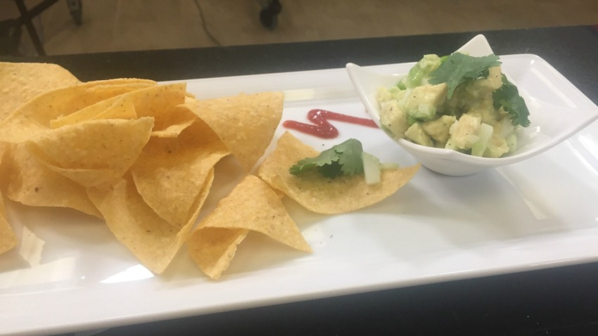 unmashed guacamole with cucumber
