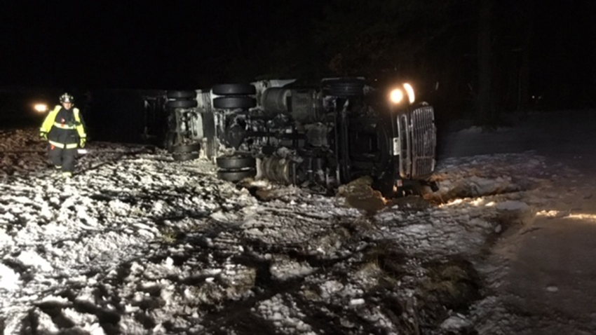 ups truck rollover in Tolland
