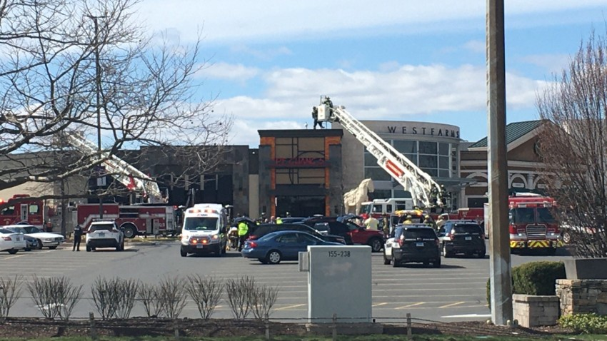fire trucks outside the west farms mall