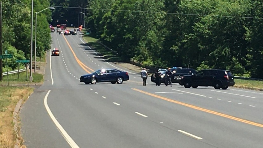 police block off Route 218 in Windsor