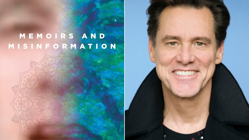 "This combination photo shows the cover of ""Memoirs and Misinformation,"" left, and a portrait of author-actor Jim Carrey."
