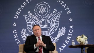 Secretary of State Mike Pompeo speaks at the National Constitution Center about the Commission on Unalienable Rights, Thursday, July 16, 2020, in Philadelphia.