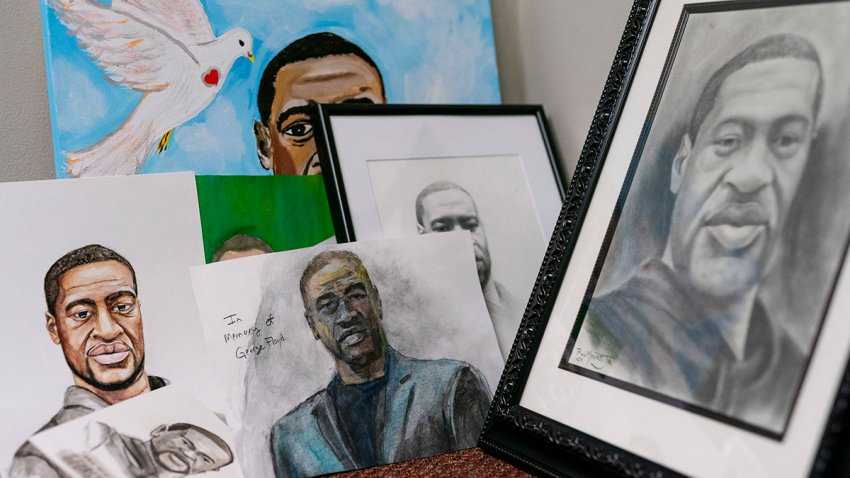 Artwork sent by the public intended for George Floyd's family is seen in the law offices of Benjamin Crump, June 15, 2020, in Tallahassee, Fla.