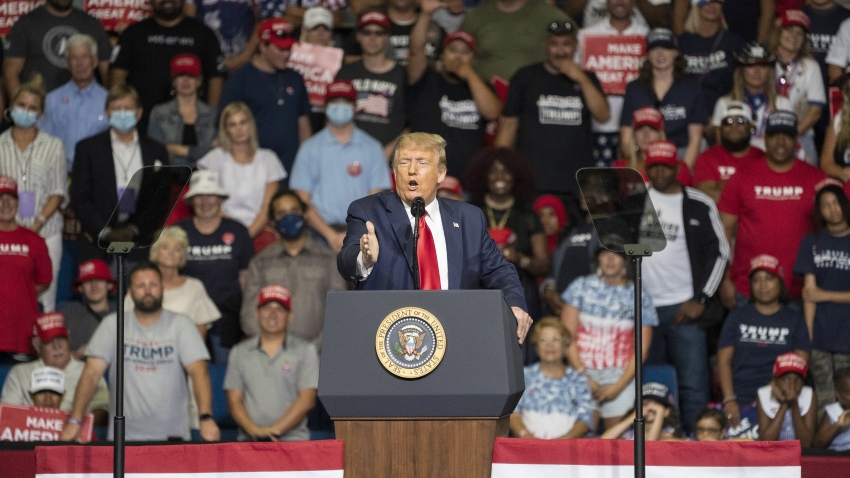 U.S. President Donald Trump speaks during a rally in Tulsa, Oklahoma, U.S., on Saturday, June 20, 2020. Trump's first campaign rally since the coronavirus pandemic took hold in the U.S. drew far fewer supporters than the president and his advisers had predicted, a downbeat end to a day of controversy over efforts to oust a top prosecutor in New York.