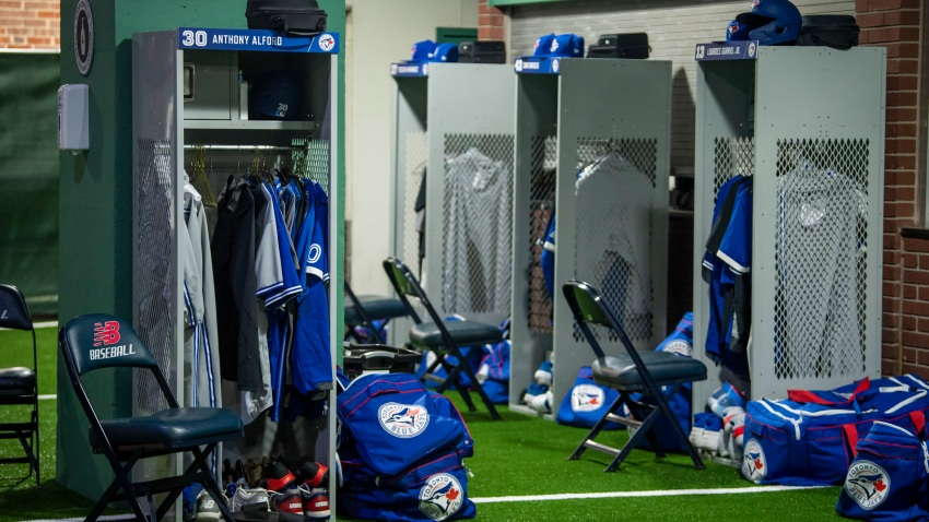 The Toronto Blue Jays visiting team auxiliary clubhouse constructed in the concourse is shown before the start of the 2020 Major League Baseball season on July 21, 2020 at Fenway Park in Boston