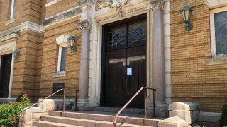 the front doors of Saint Joseph's Church in New Haven