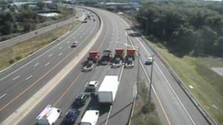 trucks block interstate 95 in Stratford