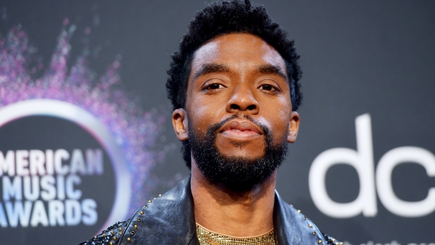 In this Nov. 24, 2019, file photo, Chadwick Boseman poses in the press room during the 2019 American Music Awards at Microsoft Theater in Los Angeles, California.