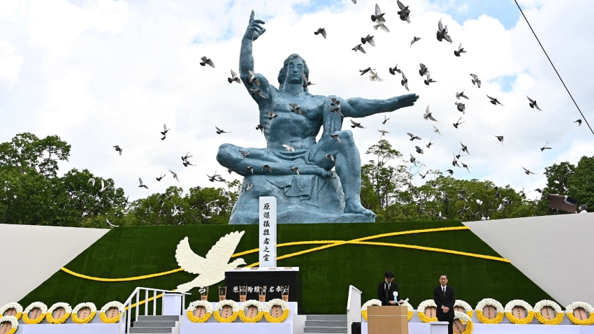 Doves fly during a ceremony marking the 75th anniversary of the atomic bombing of Nagasaki, at the Nagasaki Peace Park on August 9, 2020.
