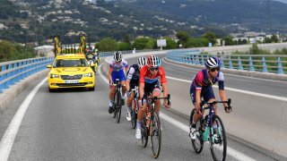 Cyclists compete during the 7th La Course 2020, at Le Tour de France, a 96km race from Nice to Nice on August 29, 2020 in Nice, France.