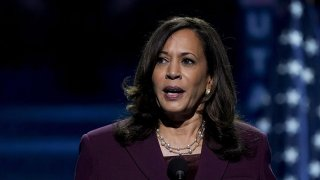 Sen. Kamala Harris, Democratic vice presidential nominee, speaks during the Democratic National Convention at the Chase Center in Wilmington, Del., Aug. 19, 2020.