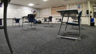 A classroom with desks 6 feet apart