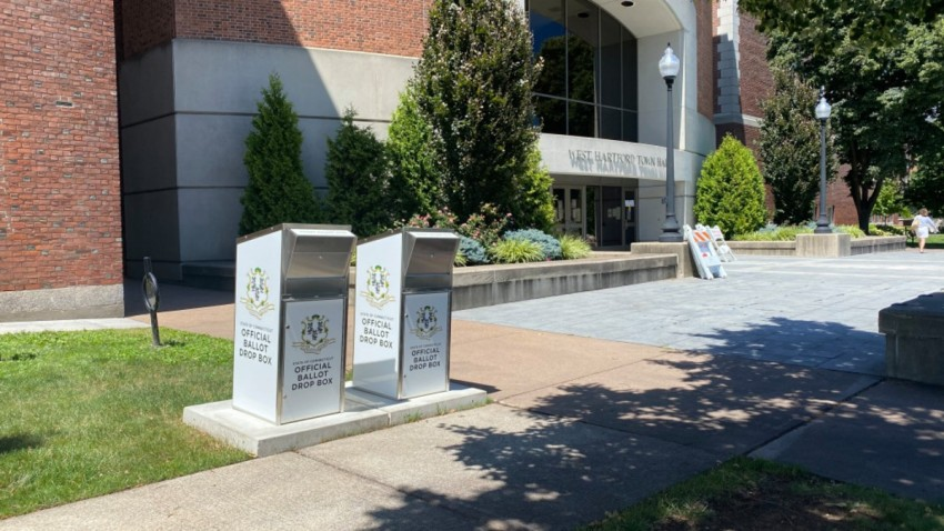 Ballot boxes outside West Hartford Town Hall