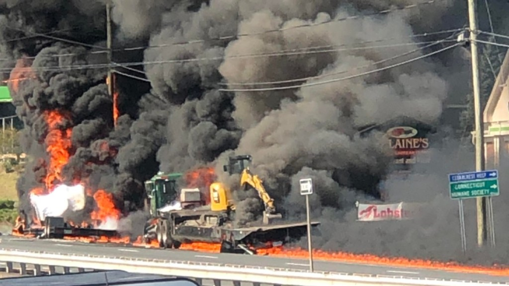 fire engulfs a vehicle after a crash on the Berlin Turnpike in Wethersfield