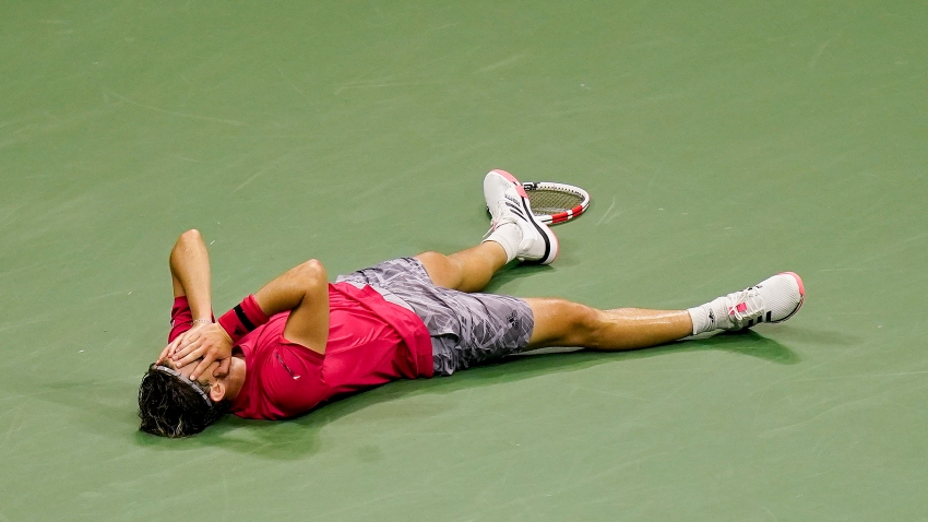 Dominic Thiem, of Austria, reacts after defeating Alexander Zverev, of Germany, in the men's singles final of the US Open tennis championships, Sunday, Sept. 13, 2020, in New York.