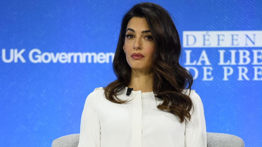 Amal Clooney is seen onstage during day two of the Global Conference on Press Freedom in London, England