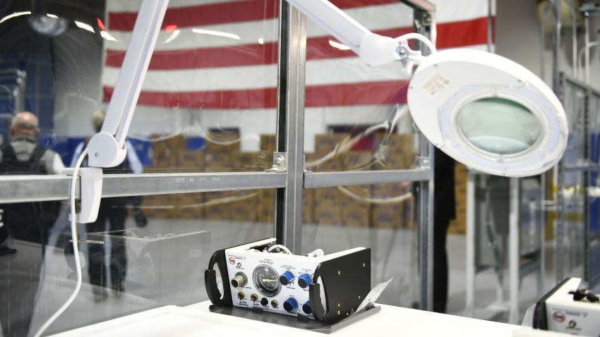 A pNeuton ventilator is pictured as the US president tours the Ford Rawsonville Plant, that has been converted to making personal protection and medical equipment, in Ypsilanti, Michigan on May 21, 2020.