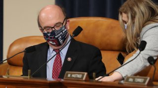 WASHINGTON, DC - MAY 14: House Rules Committee Chairman Jim McGovern (D-MA) wears a New England Patriots-themed face mask during a hearing about the proposal to authorize remote voting by proxy in the House of Representatives due to the risks presented by the novel coronavirus pandemic in the Longworth House Office Building on Capitol Hill May 14, 2020 in Washington, DC. Democratic leaders said the House may vote on Thursday to change the rules to allow lawmakers to cast votes remotely for the first time in its 231-year history, a major concession to the constraints created by COVID-19.