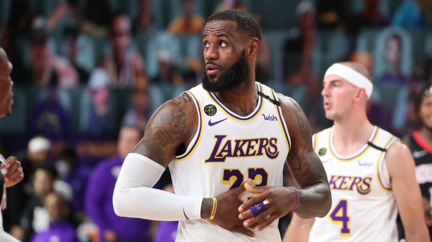 LeBron James #23 of the Los Angeles Lakers looks on during the game against the Houston Rockets during Game Five of the Western Conference SemiFinals of the NBA Playoffs on September 12, 2020 at AdventHealth Arena in Orlando, Florida