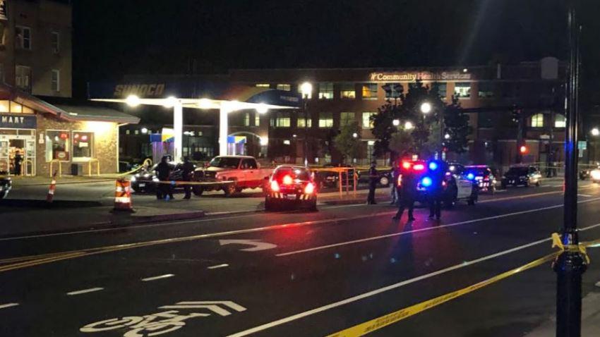 police gathered at shooting scene in Hartford