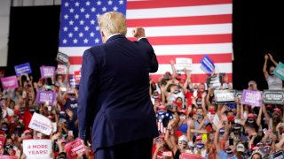 President Donald Trump arrives to speak at a rally at Xtreme Manufacturing, Sunday, Sept. 13, 2020, in Henderson, Nev.