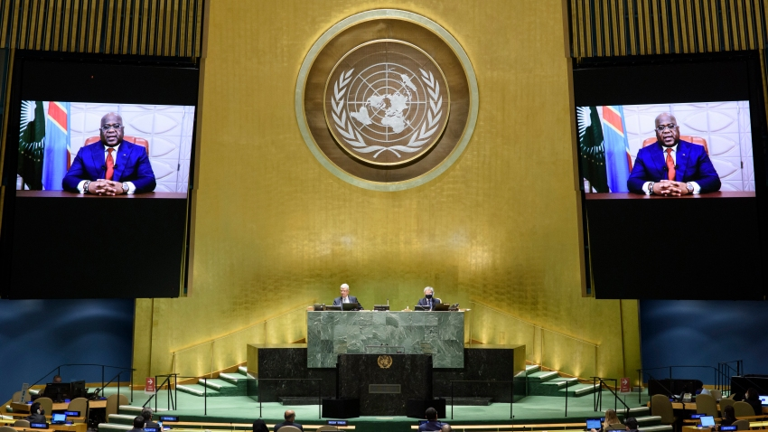 In this photo provided by the United Nations, Congo's President Félix Antoine Tshilombo Tshisekedi's pre-recorded message is played during the 75th session of the United Nations General Assembly, Tuesday, Sept. 22, 2020, at U.N. headquarters.