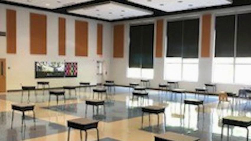 Desks spaced at a distance in Calvert County Public Schools