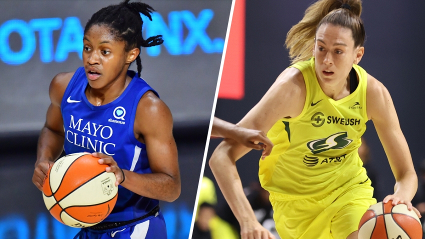 Crystal Dangerfield of the Minnesota Lynx, left; Breanna Stewart of the Seattle Storm, right.